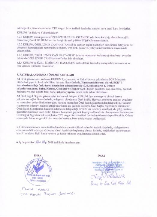 Basın-İş Sendikası & İzmir Özel Can Hastanesi Anlaşması