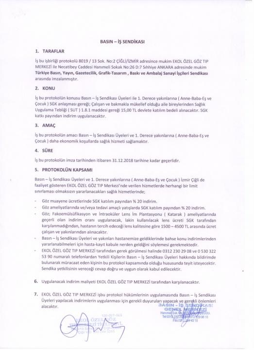 Basın-İş Sendikası & Özel Ekol Göz Tıp Merkezi Anlaşması