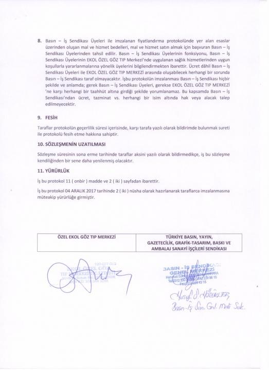Basın-İş Sendikası & Özel Ekol Göz Tıp Merkezi (İzmir) Anlaşması