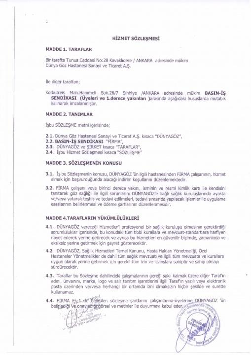 Basın-İş Sendikası & Dünya Göz Hastanesi Anlaşması